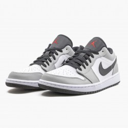 "Air Jordan 1 Retro Low ""Light Smoke Grey"" 553558 030 Lt Smoke Grey/Gym Red-White AJ1 Jordan"