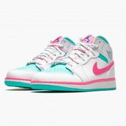 """Air Jordan 1 Mid """"Digital Pink"""" Womens White/Digital Pink-Aurora Gree 555112 102 AJ1 Jordan"""