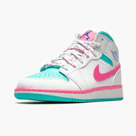 Air Jordan 1 Mid Digital Pink Womens White/Digital Pink-Aurora Gree 555112 102 AJ1 Jordan