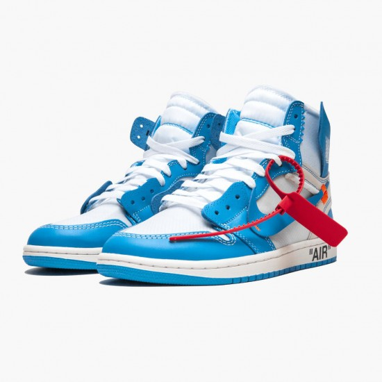 Air Jordan 1 Retro High Off-White University Blue AJ1 AQ0818 148 White/Dark Powder Blue-Cone Jordan