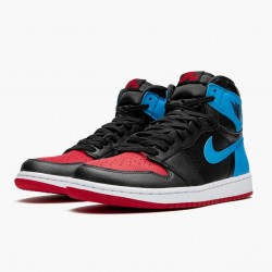 "Air Jordan 1 High OG ""UNC To Chicago"" Black/Dark Powder Blue/Gym Red CD0461 046 AJ1"