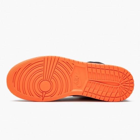 Air Jordan 1 Mid Candy Black/Total Orange 554725 083 AJ1 Jordan
