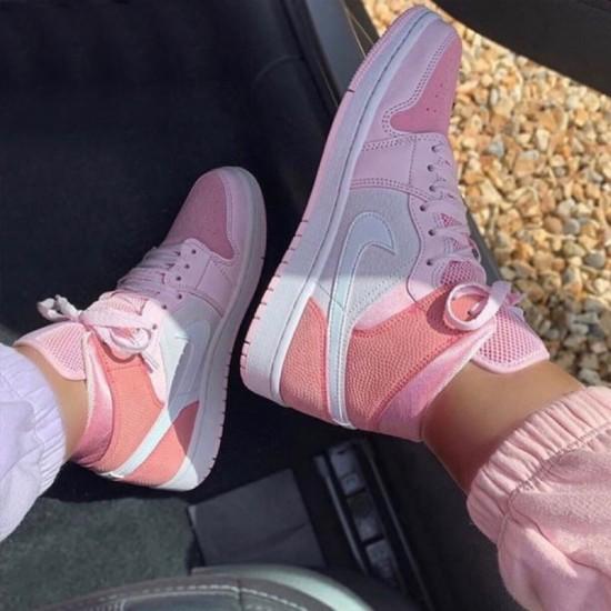 Air Jordan 1 Mid Digital Pink Digital Pink/White-Pink Foam-Sail CW5379 600 Womens AJ1 Jordan