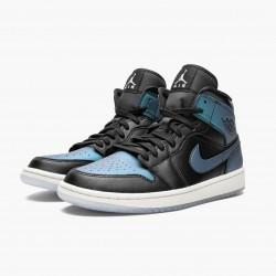 "Air Jordan 1 Mid ""Iridescent Black"" Black/Pale Ivory-Multi-Color BQ6472 009 AJ1 Jordan"