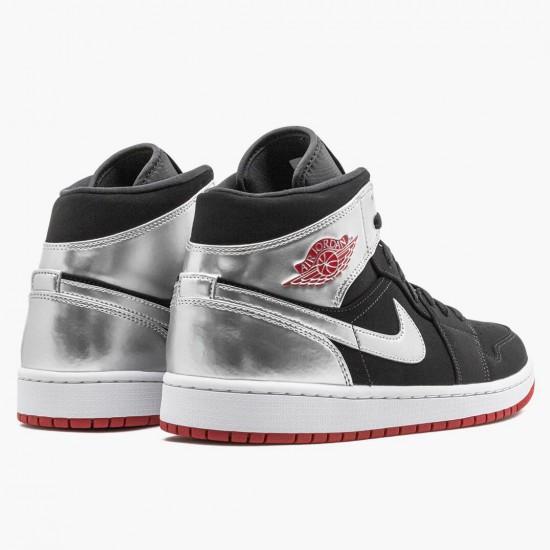 Air Jordan 1 Mid Johnny Kilroy Black/Gym Red-Metallic Silver 554724 057 AJ1