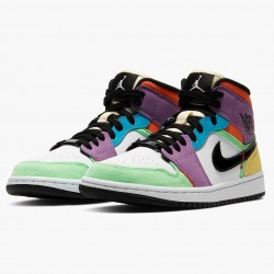 "Air Jordan 1 Mid SE ""Multicolor"" White/Black/Lightbulb/Team Ora CW1140 100 AJ1"