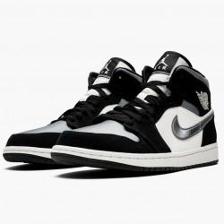 "Air Jordan 1 Mid ""Satin Grey Toe"" Black/Anthracite-Sail 852542 011 AJ1"