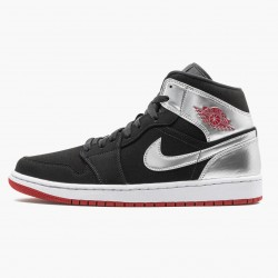 "Air Jordan 1 Mid ""Johnny Kilroy"" Black/Gym Red-Metallic Silver 554724 057 AJ1"