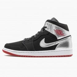 "Air Jordan 1 Mid ""Johnny Kilroy"" Black/Gym Red-Metallic Silver 554724 057 AJ1"