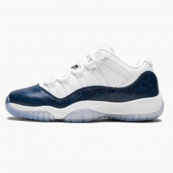 "Air Jordan 11 Low ""Navy Snakeskin"" CD6847 102 Whiite Black-Navy AJ11 Black Jordan"