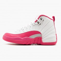 "Air Jordan 12 Retro ""Dynamic Pink"" Womens AJ12 510815 109 White/Vivid Pink-Mtllc Silver Jordan"