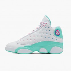 "Air Jordan 13 Retro ""Aurora Green"" Womens White/Soar/Aurora-Green-Digita 439358 100 AJ13 Jordan"