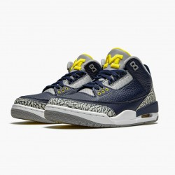 "Air Jordan 3 Retro ""Michigan"" AJ3 820064 Black/University Gold-Cement G AJ3 Jordan"