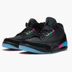 "Air Jordan 3 Retro ""Quai54"" AT9195 001 Black/Black-Electric Green AJ3 Jordan"