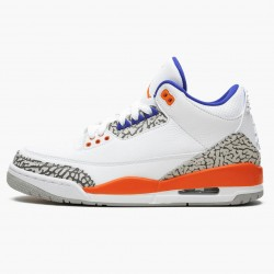 "Air Jordan 3 Retro ""Knicks"" 136064 148 White/Old Royal University Ora AJ3 Jordan"