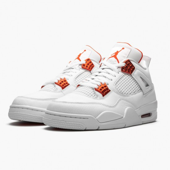 Air Jordan 4 Retro Metallic Orange CT8527 118 White/Team Orange-Metallic Sil AJ4 Jordan