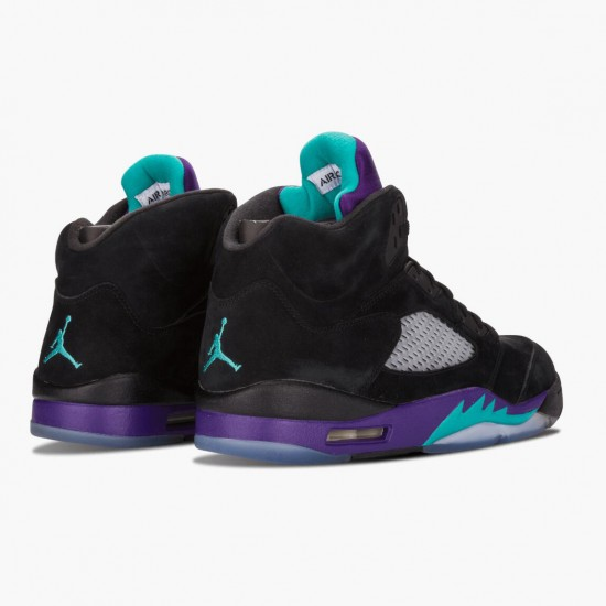 Air Jordan 5 Retro Black Grape Black/New Emerald-Grape Ice 136027 007 AJ5 Jordan