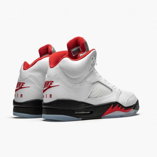 Air Jordan 5 Retro Fire Red Silver Tongue True White/Fire Red-Black DA1911 102 AJ5 Jordan