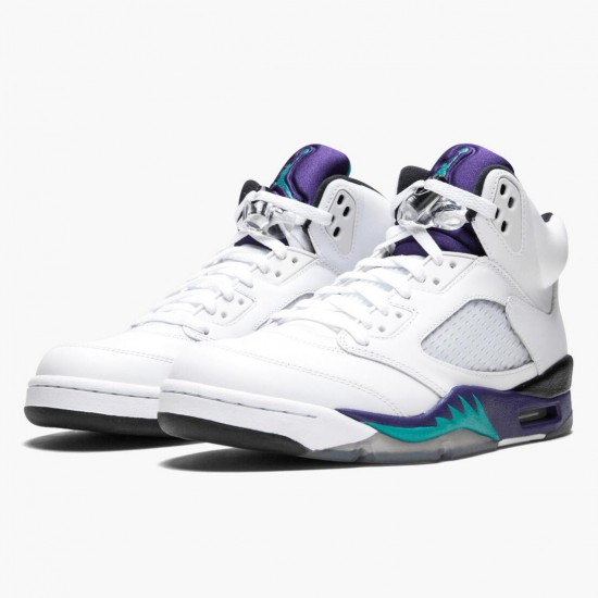 Air Jordan 5 Retro Grape White/New Emerald-Grp Ice-Blk 136027 108 AJ5