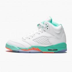 "Air Jordan 5 Retro ""Light Aqua"" White/Crimson Pulse-Light Aqua 440892 100 AJ5 Jordan"