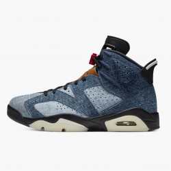 "Air Jordan 6 Retro""Washed Denim"" 384664 060 Black-Sail/Varsity Red AJ6 Black Jordan"